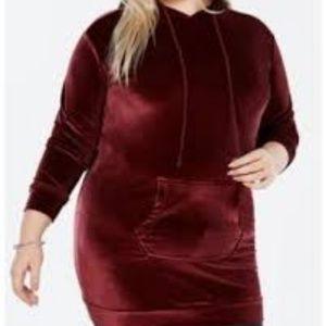 Trendy Plus Size Velvet Hoodie